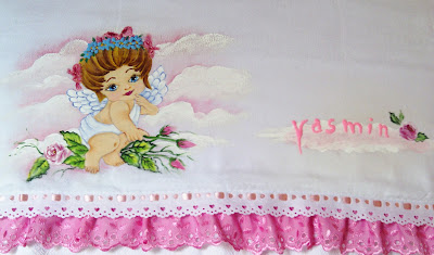 pintura em tecido fralda para menina