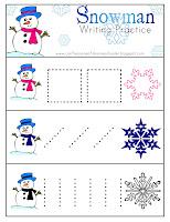 snowman writing practice