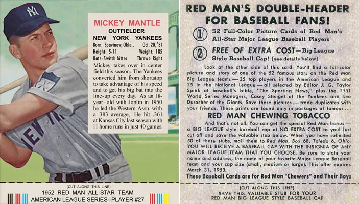 Bob Lemkes Blog 1952 Red Man Mickey Mantle Custom Card