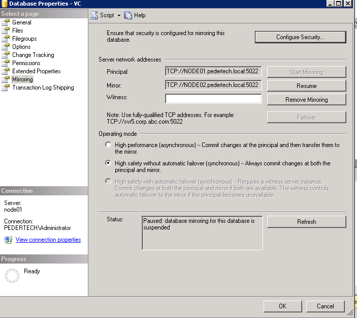 resume suspended database mirroring