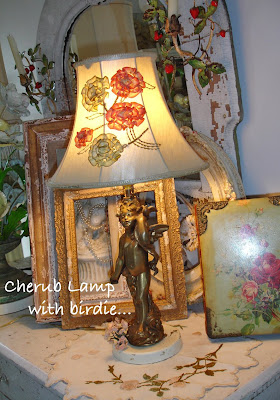 I was getting ready to  tag  this l& for the **SaLe** ~ tooooo cute itu0027s a keeper for now... I love when vignettes  just happen . & ChiPPy! - SHaBBy!: ***Blooming Magnolia Tree*** ~ Cherub/Angel Lamp...