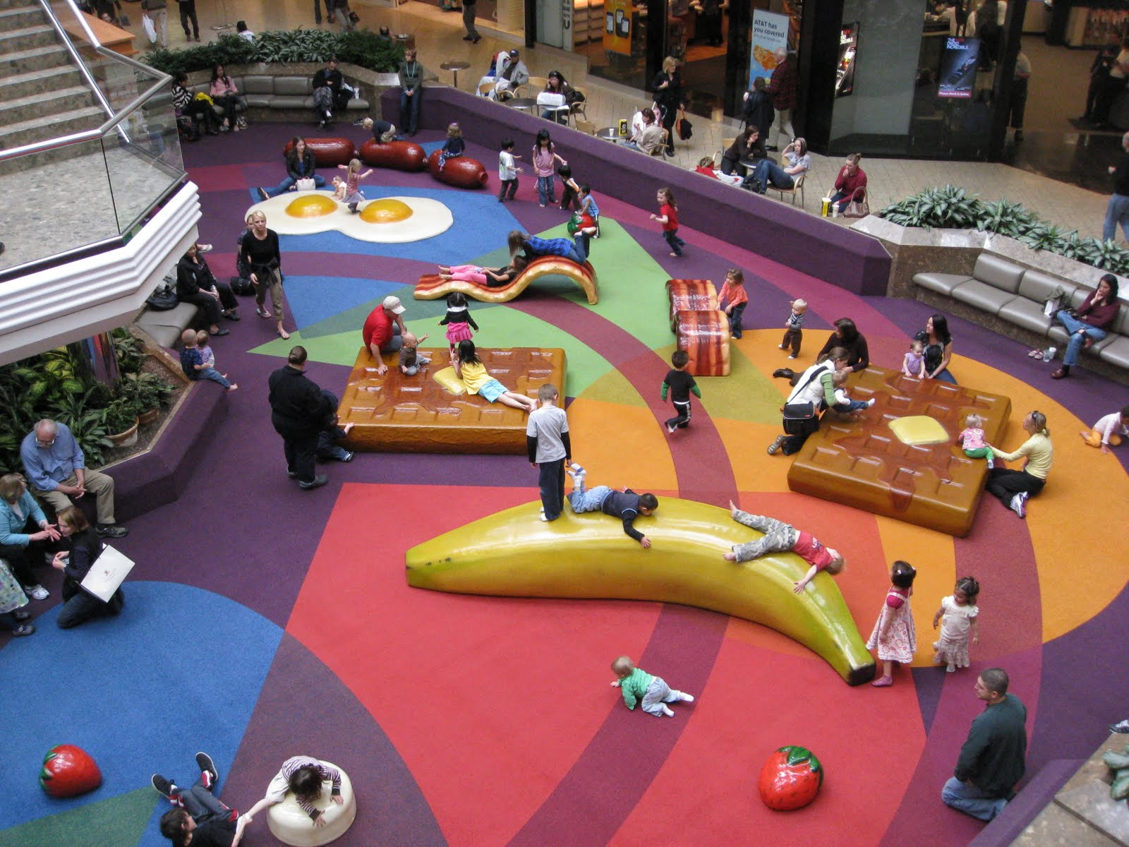 Unusual Furniture Cherry Creek Mall Shopping Center Denver Colorado Play Area Play Place Breakfast Food Playground Equipment Banana Waffles Bacon Eggs Sausage Strawberries