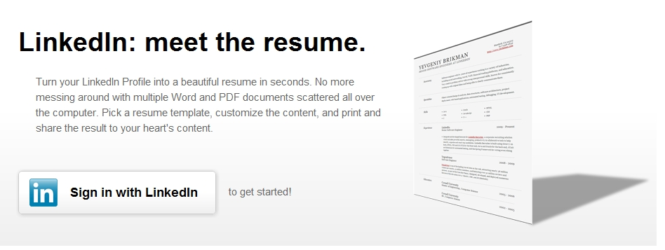 create your resume in seconds using linkedin