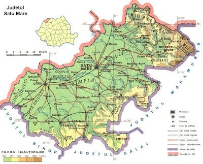 Feroviarii Harta Fizica A Judetului Satu Mare