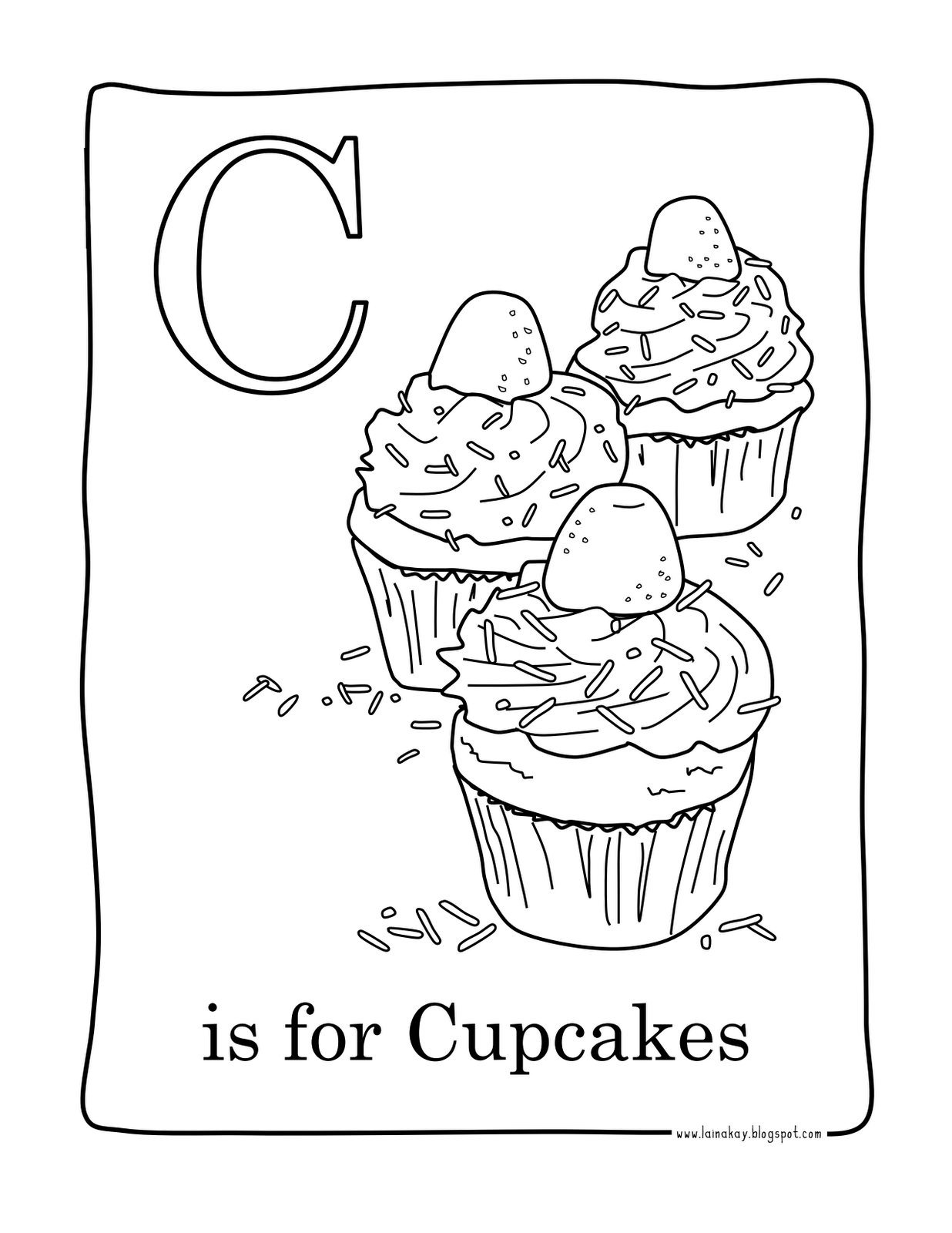 Cute Birthday Cupcake Coloring