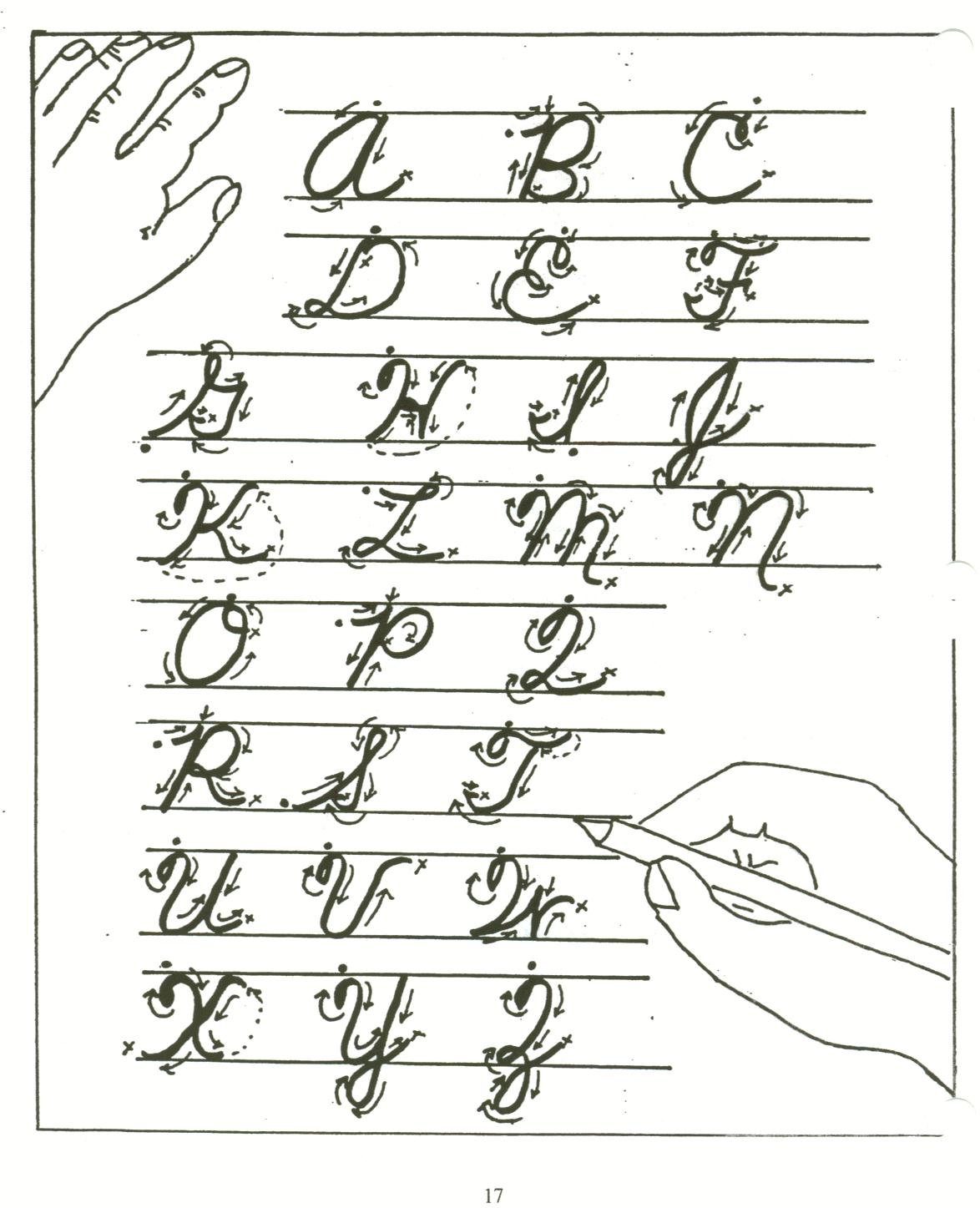 learn cursive writing alphabet letters