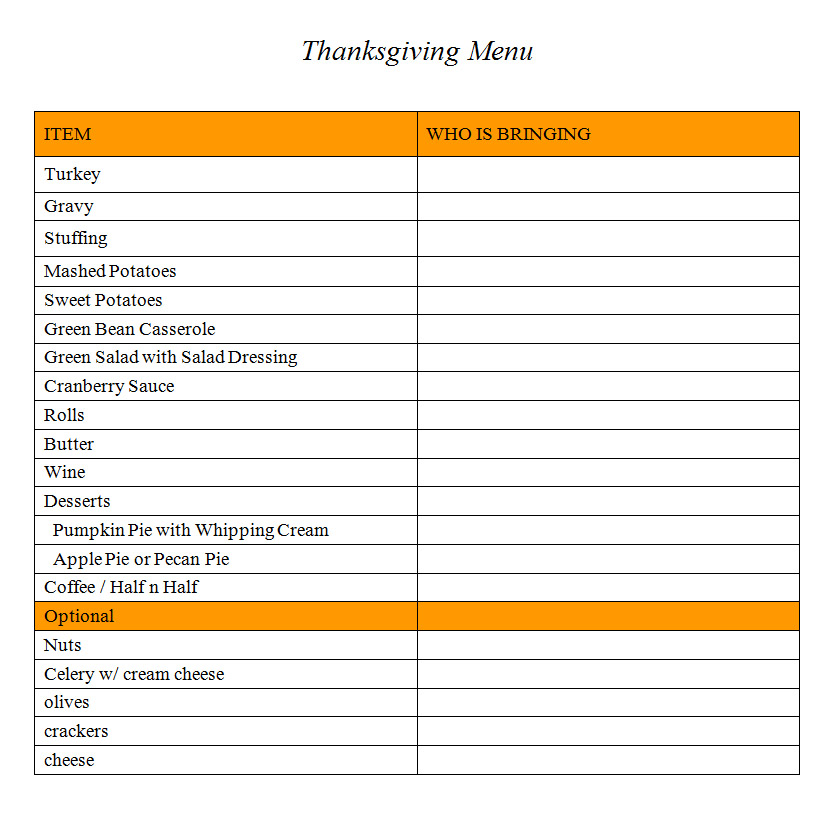 Thanksgiving Dinner Shopping List Template