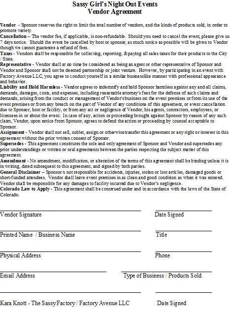 SassyGNO Vendor Agreement