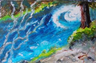 Galaxy River, oil on 8x5 board by Byannick