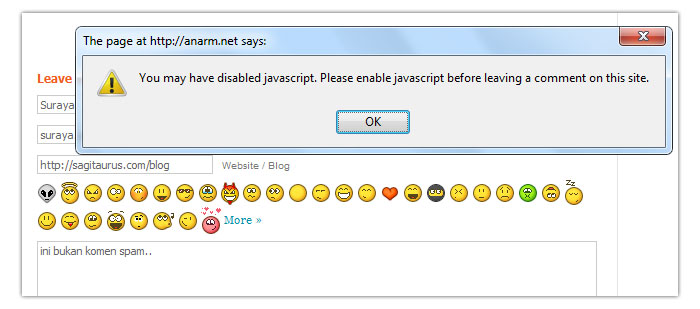 javascript disable