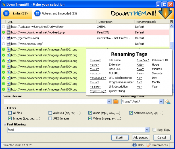 DownThemAll Download Manager