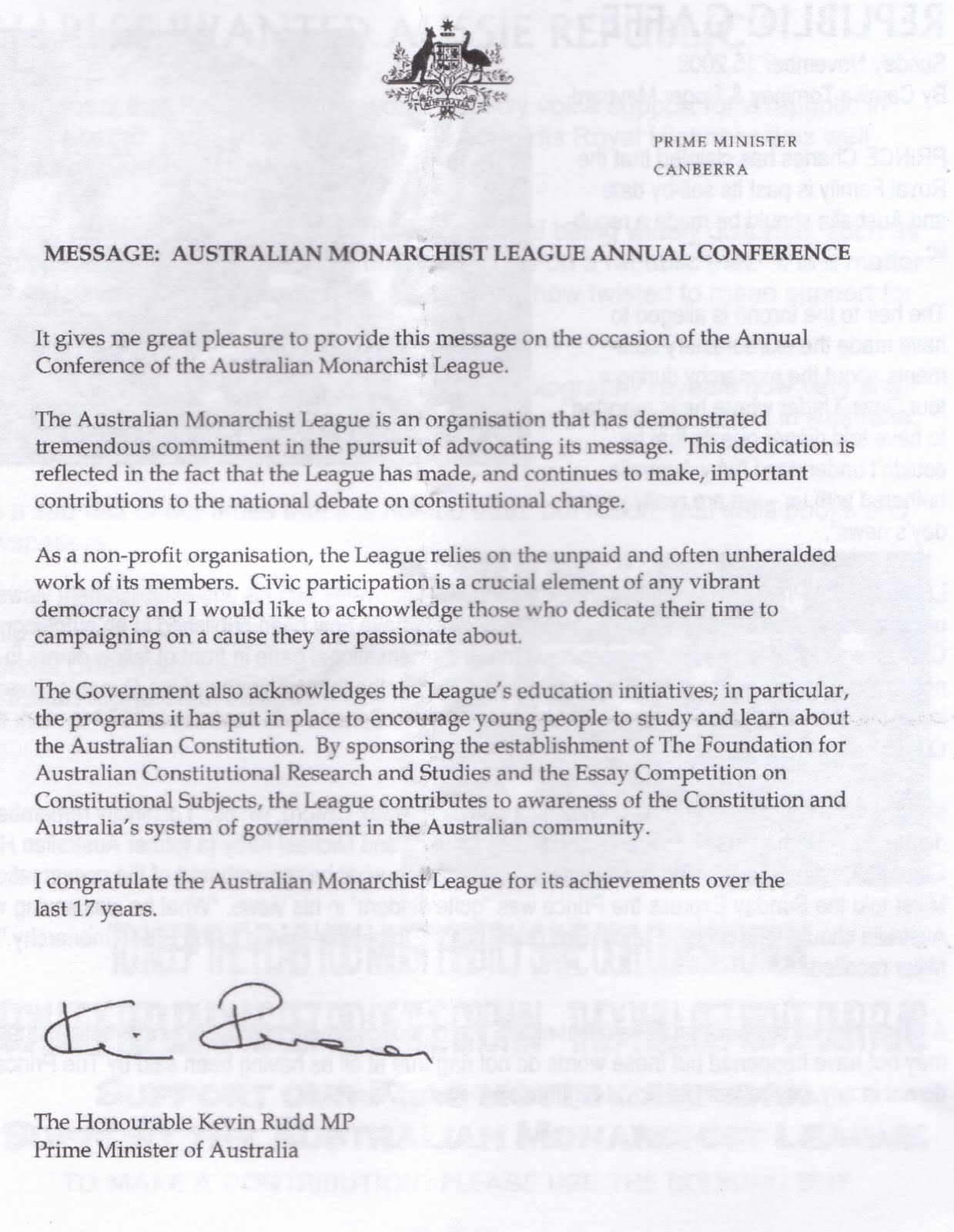 radical royalist  kevin rudd had sent a message to the conference which is full of surprises see for yourself