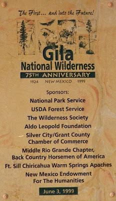 Gila Wilderness Plaque
