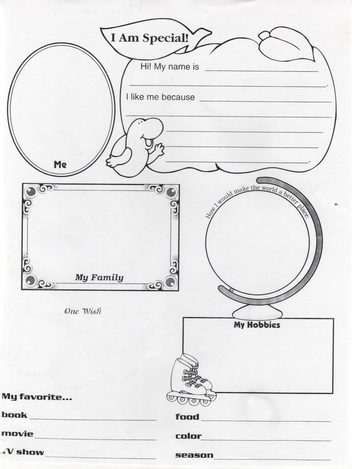 I Am Special Because Worksheet Sketch Coloring Page
