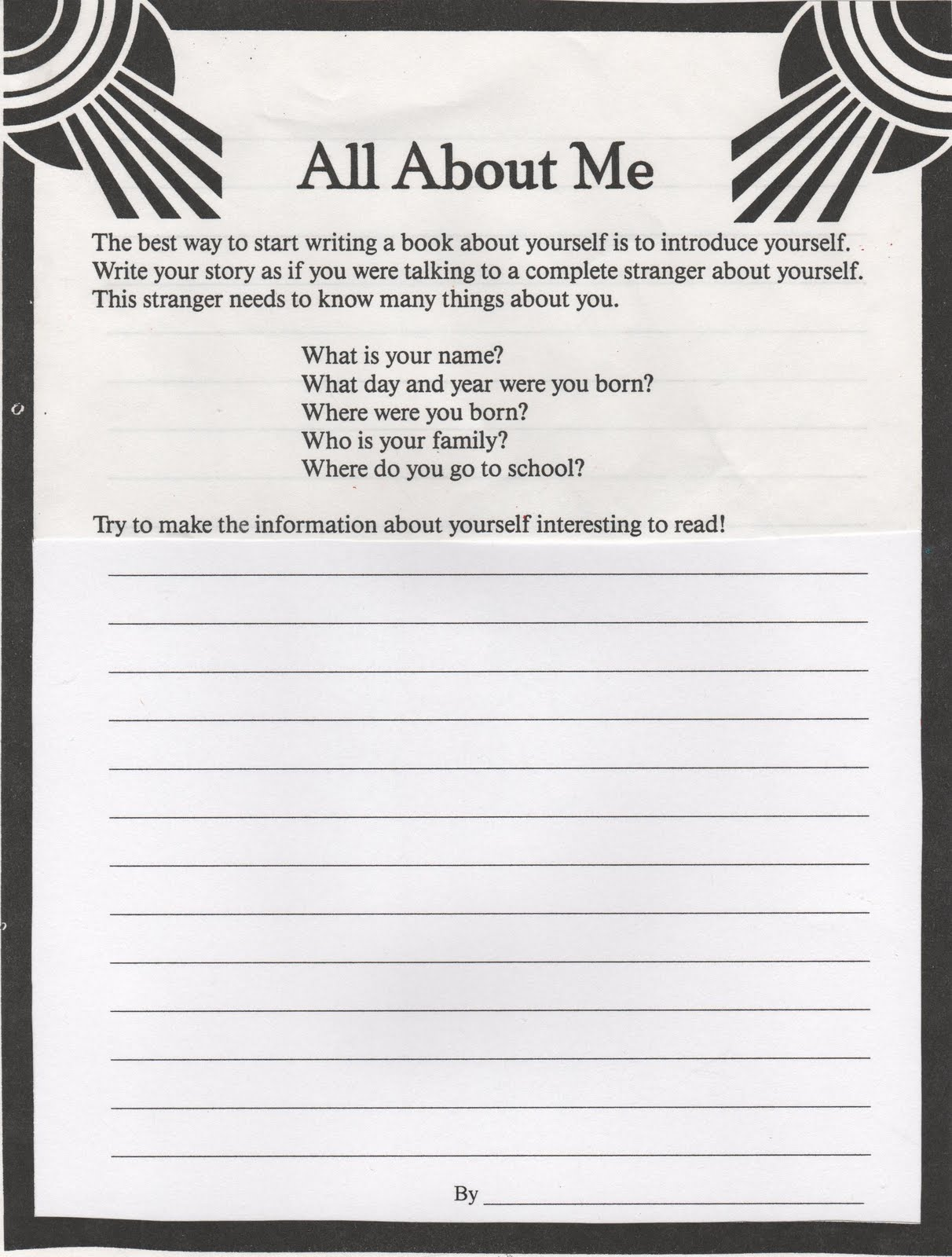 Elementary School Enrichment Activities All About Me