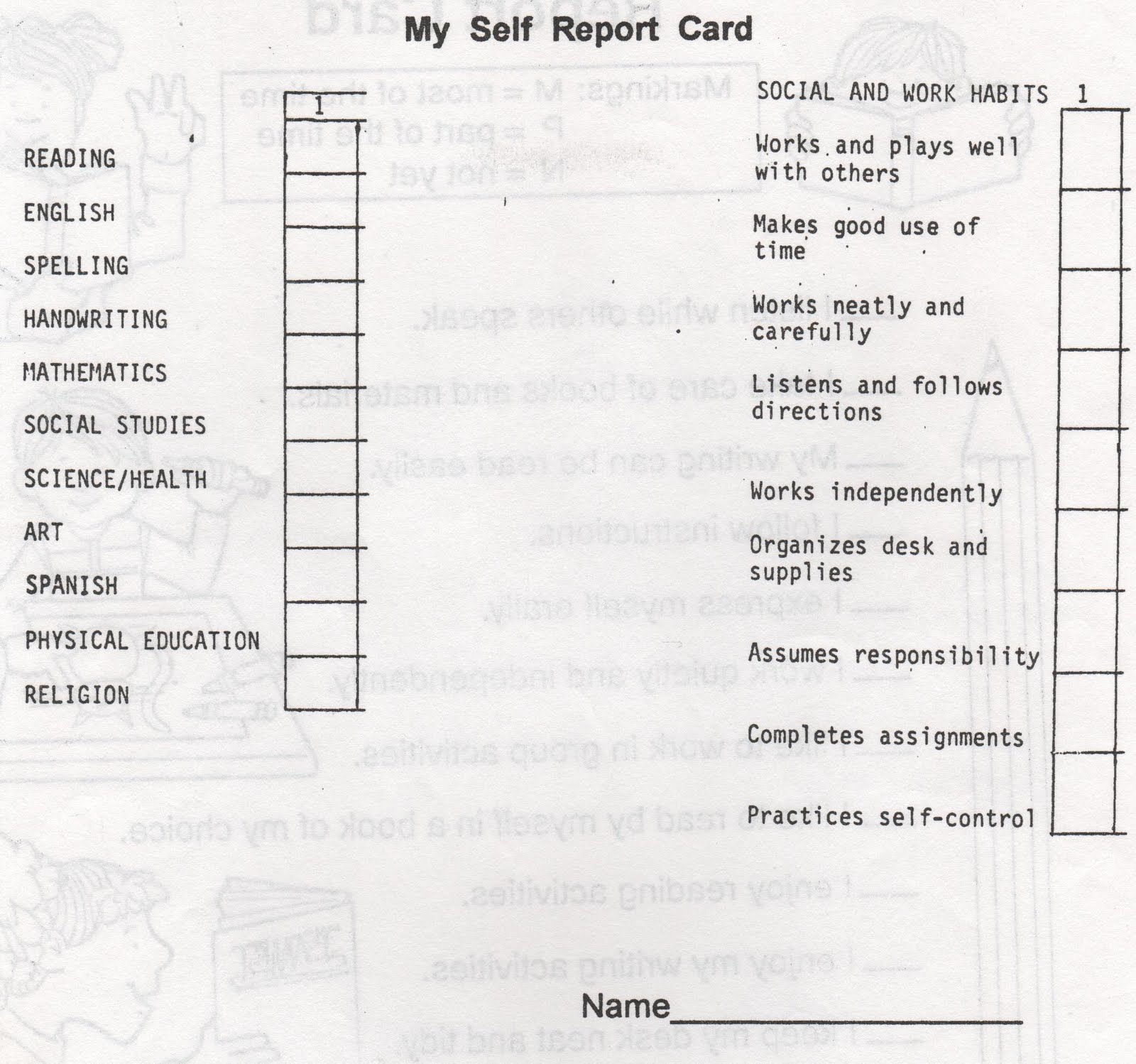 ELEMENTARY SCHOOL ENRICHMENT ACTIVITIES: REPORT CARDS