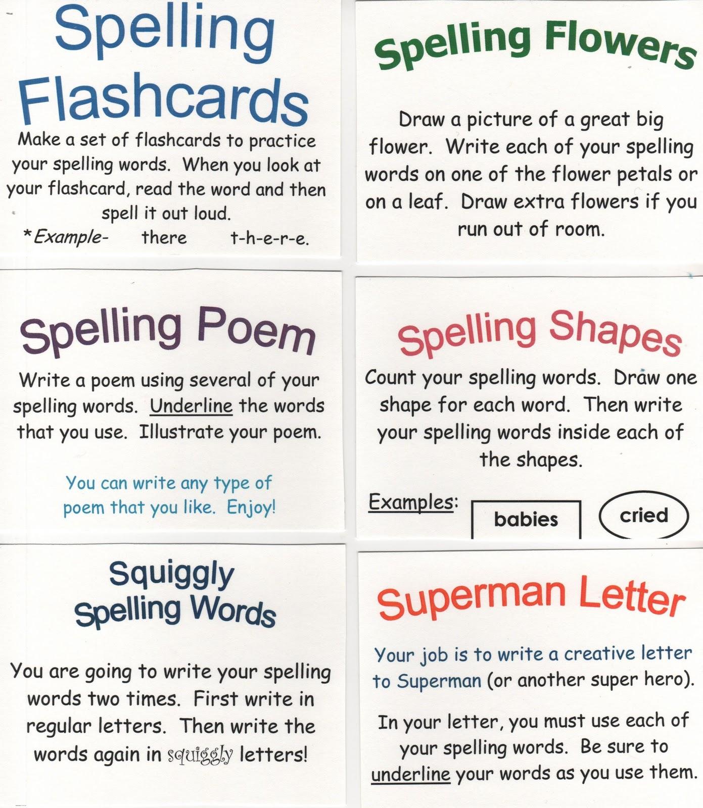 Elementary School Enrichment Activities 72 Spelling Ideas