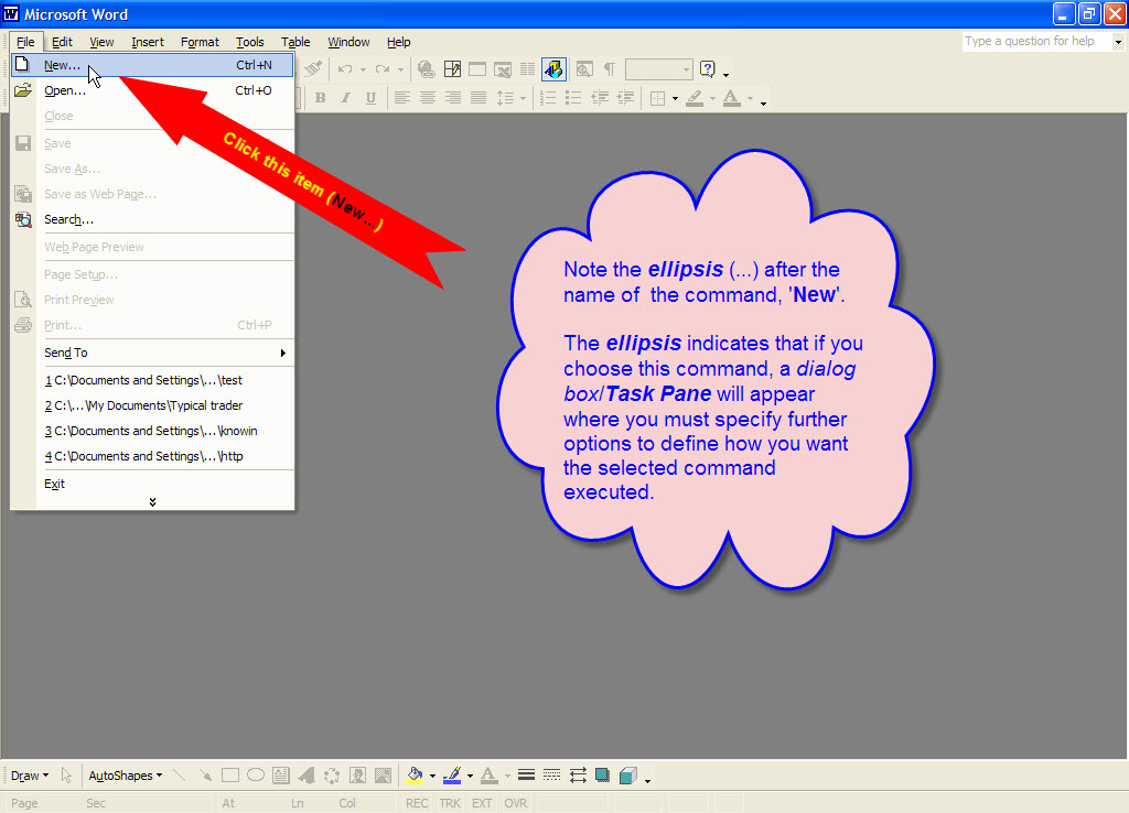 creating documents in word 2002