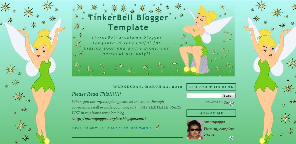 Ammupappa's Free Blogger Templates and Layouts: Tinkerbell ...