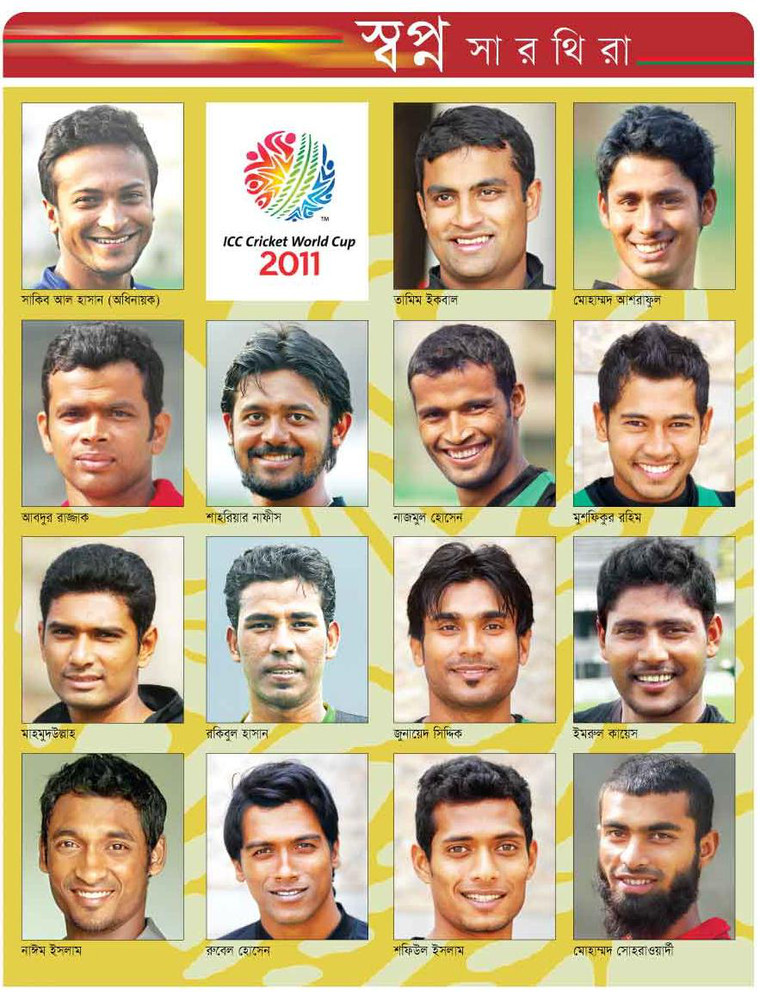 World Cup Cricket 2011: Bangladesh Has Annonuced Player
