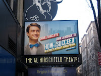 """""""How to Succeed"""" banners at the Al Hirschfeld theatre, NY"""