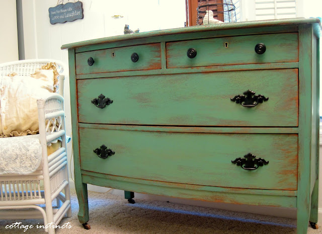 Cottage Instincts How I Paint And Distress A Dresser In A Somewhat Haphazard Fashion