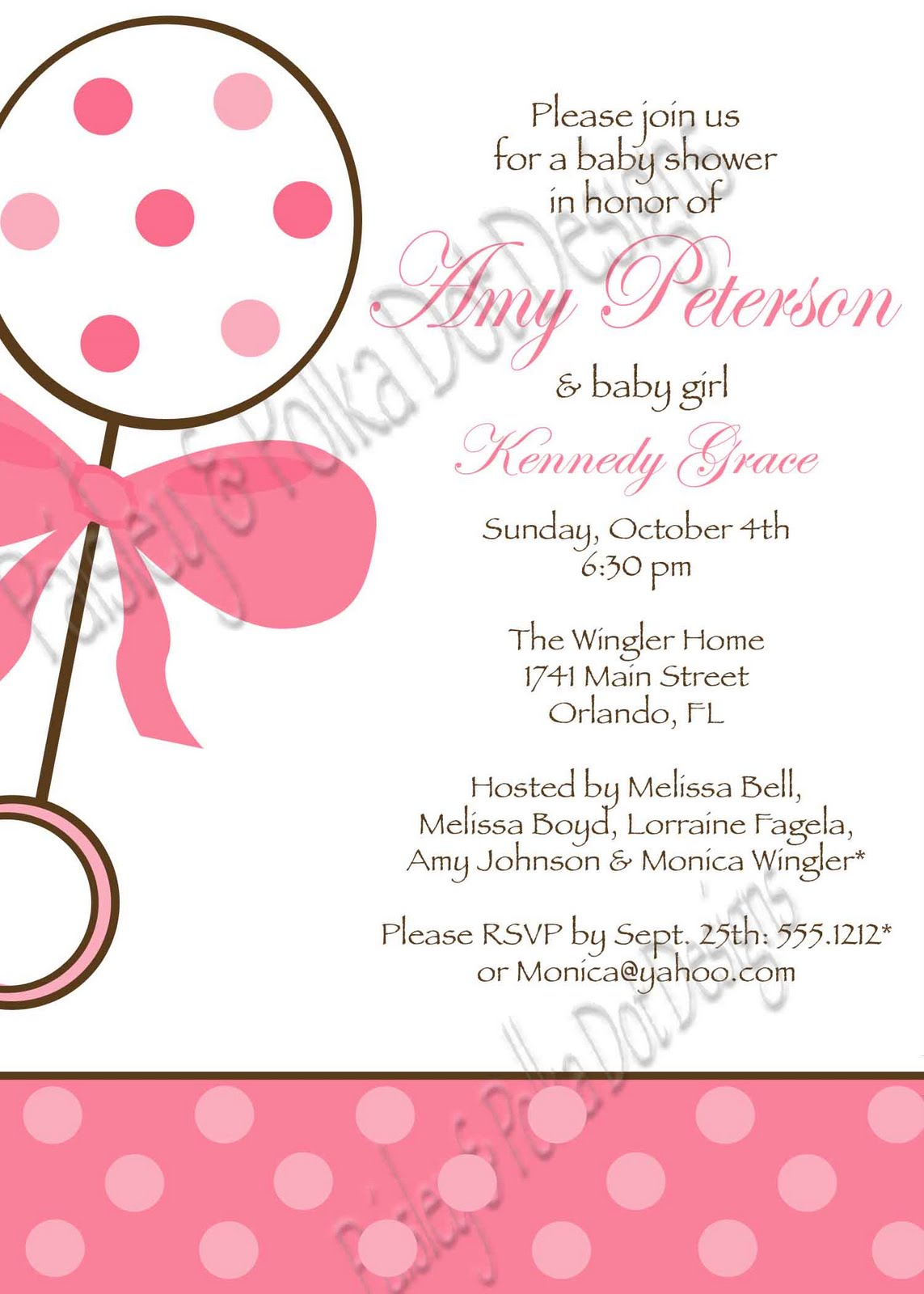 Paisley and Polka Dot Designs: Baby Shower Invitations