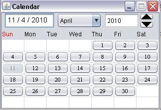 JAVA CODE SPOT: JAVA : Calendar