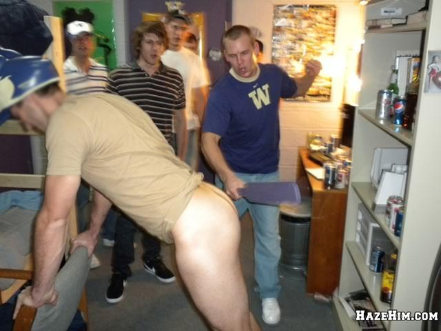 Fraternity guys get their bare asses beaten in an attempt to satisfy their  dominate older