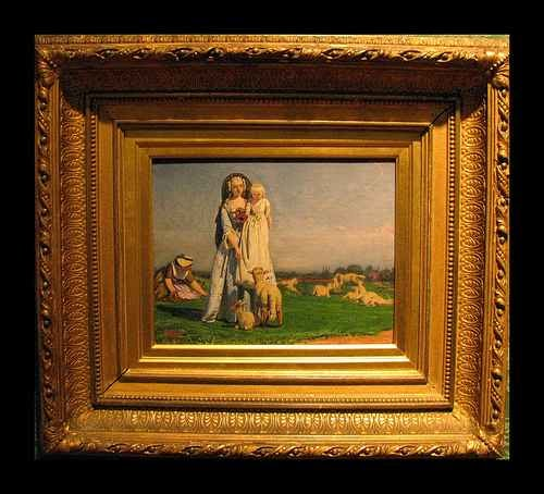 Pre Raphaelite Art Ford Madox Brown Pretty Baa Lambs With Original Frame