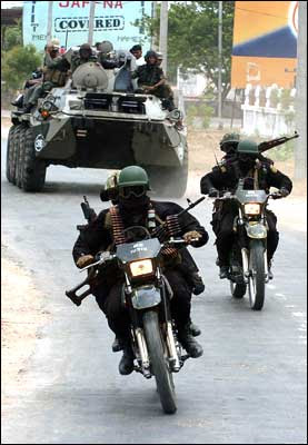 Sri Lanka Special Force unit soldiers patrol Jaffna