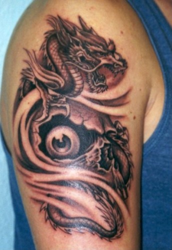 tattoo dragon: skull dragon tattoo