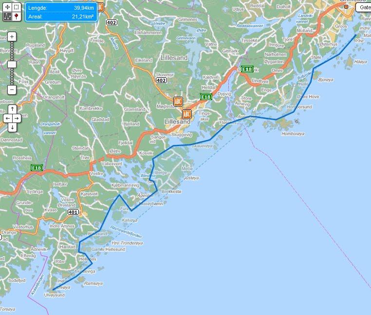 blindleia kart med Truls på tur.: Kristiansand   Kragerø 2   7. juli blindleia kart