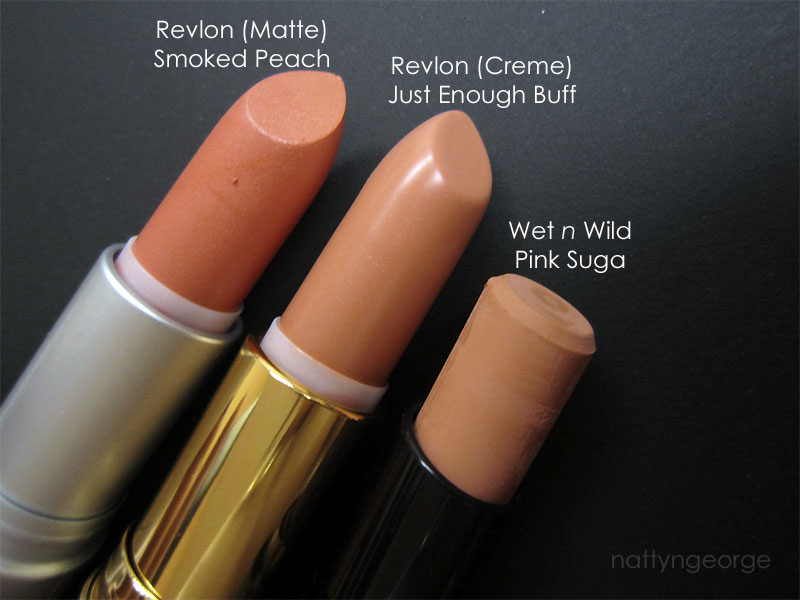 f1778eec7ad Revlon Just Enough Buff & Smoked Peach + Wet n Wild Pink Suga Lipstick  Swatches!