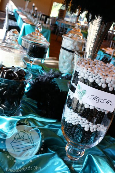 bf36792ff12 Teal Wedding Centerpieces on Black White Teal Wedding Adore Events