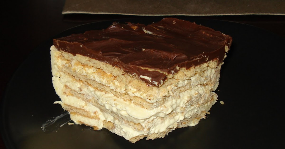 From My Kitchen No Bake Chocolate Vanilla Eclair Cake