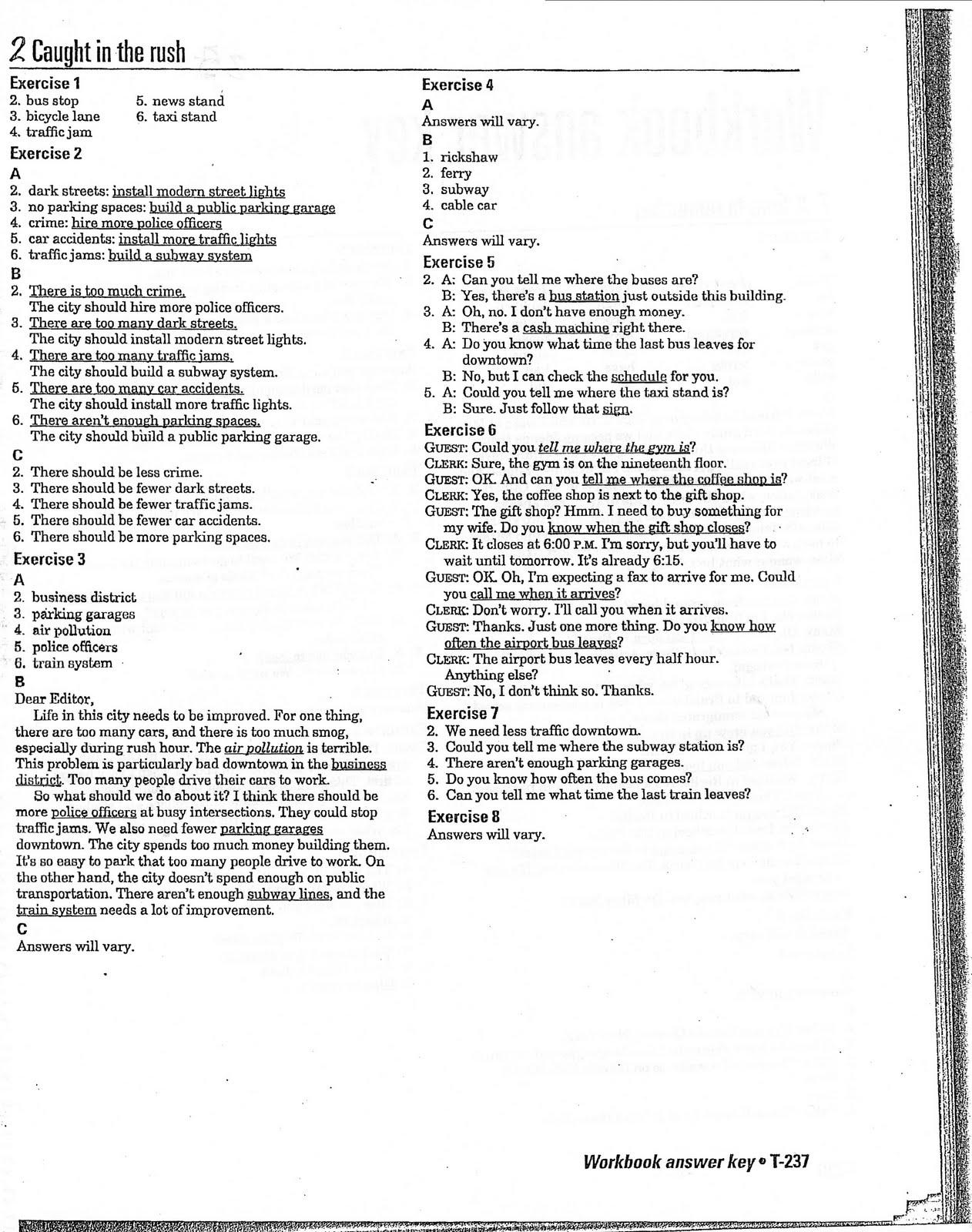 Interchange 2 English Textbook Workbook Answers Unit 2