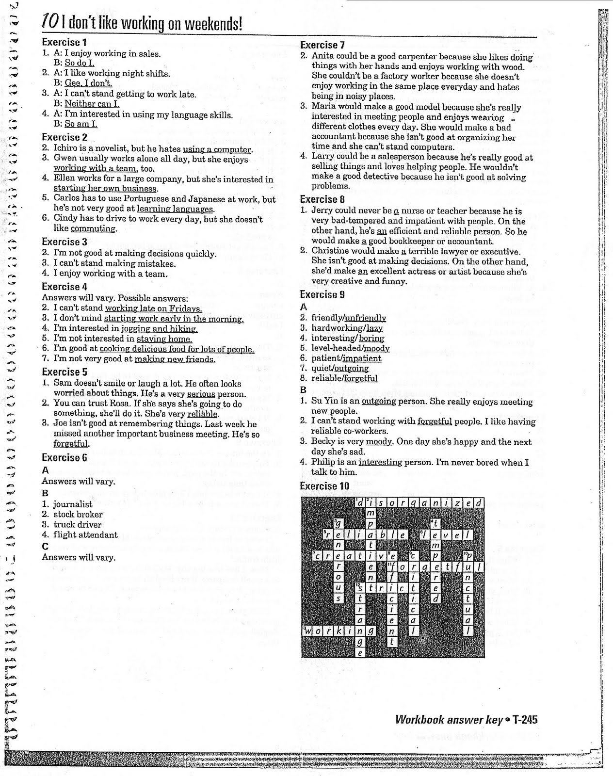 Interchange 2 (English Textbook): Workbook Answers, Unit 10