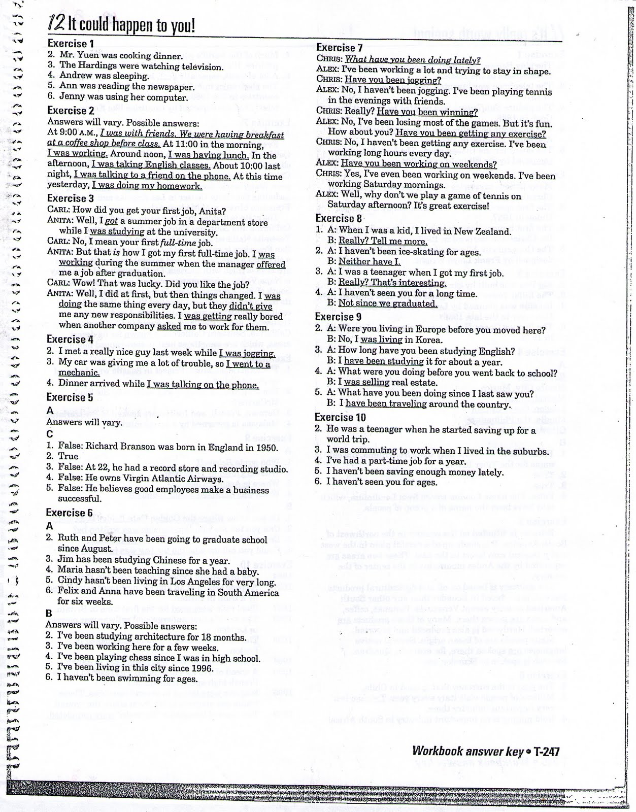 Interchange 2 (English Textbook): Workbook Answers, Unit 12