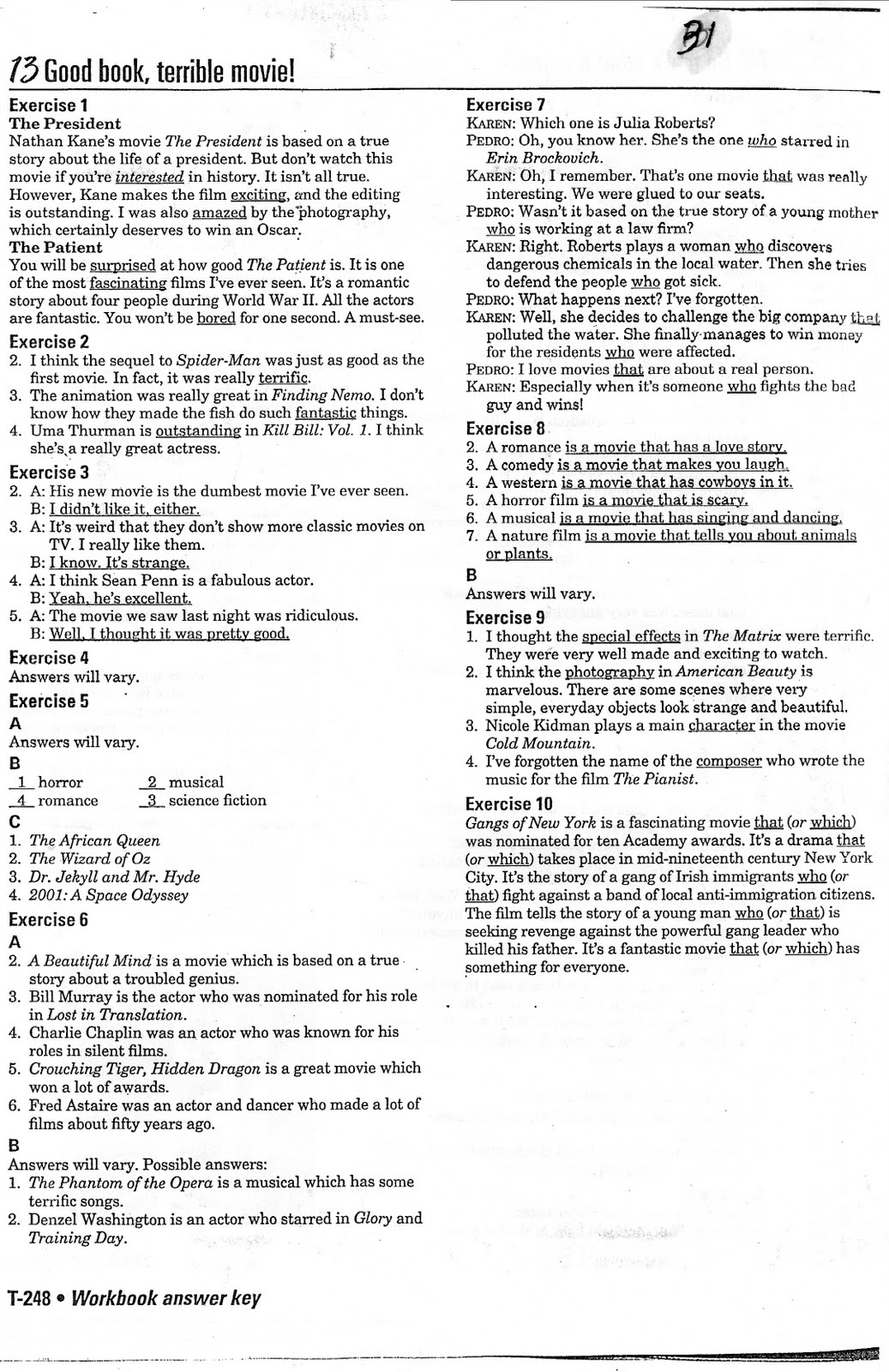 Interchange 2 (English Textbook): Workbook Answers, Unit 13