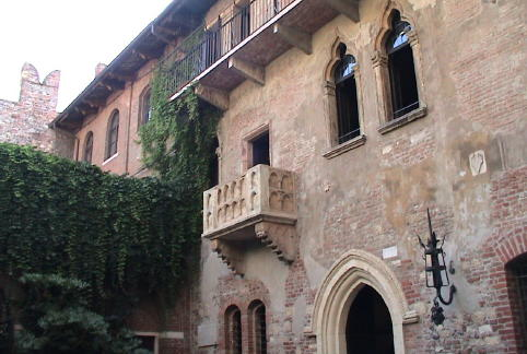 Juliet's House in Verona, a 14th century building that's a tribute to love