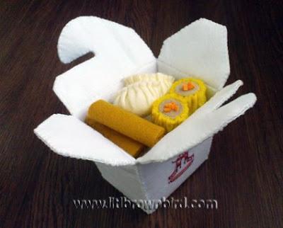 caixinha para comida japonesa em feltro