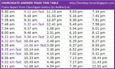 The frequency is very impressive and there are some fast trains as well here   churchgate to andheri local train time table also mumbai rh trainsspot