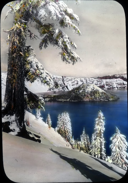 Image Title: Crater Lake in winter Creator: Fred H. Kiser Date.Original: Circa 1915-1920 Original Format: Lantern slides Original Collection: Visual Instruction Department Lantern Slides. photography-news.com, Photography News, Diana Topan, Crater Lake, Oregon photos, landscape photography