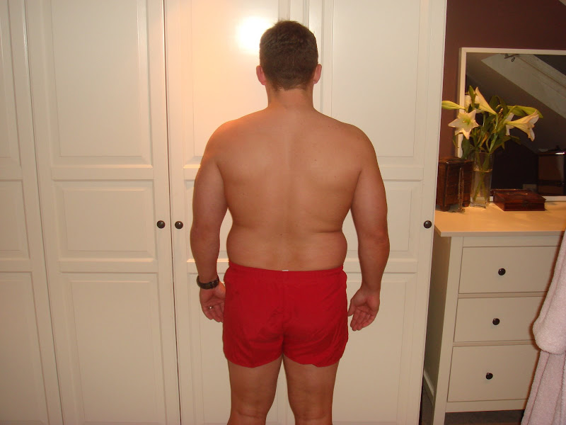 Julian — Back picture before Leangains — 222lbs