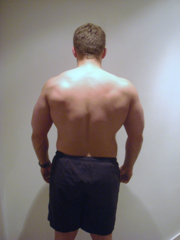 Julian — Back picture during Leangains — 208lbs