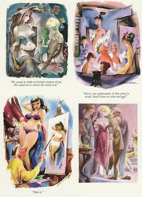 Sexy women in bra and panties are shown in rare vintage Playboy cartoons