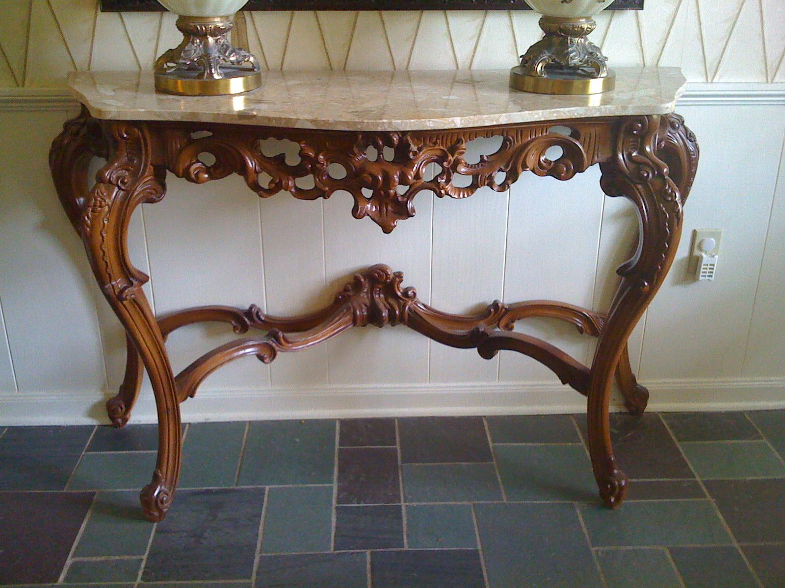 Tillman Estate Sale Marble Top Carved Foyer Table 450