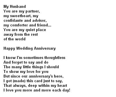 Anniversary Poems For Husband