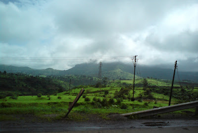 The clouds are setting on the Mumbai- Nashik highway